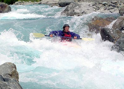 Kayaking on the Tekapo White Water course